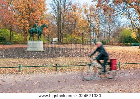 Beutiful Tiergarten Park In Belin With Autumn Foliage
