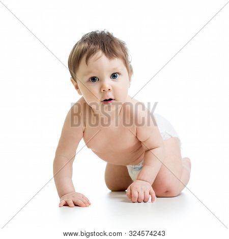 Funny Crawling Baby Infant Boy Isolated On White Background