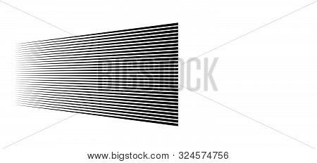 3D Lines. Straight Parallel Stripes In Perspective. Strips, Streaks Vanish, Diminish. Horizon Obliqu