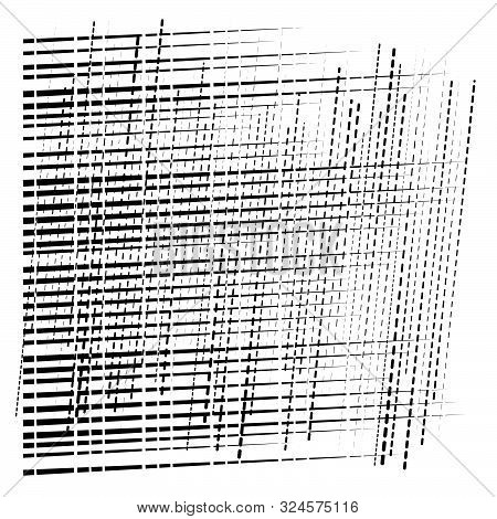 Abstract Grid, Mesh Of Random Scatter Chunks, Pieces. Geometric Abstract Illustration. Geometric Mat