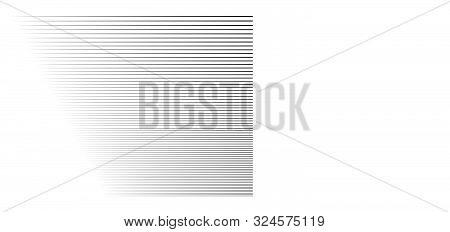 Horizontal, Straight Parallel Lines In Perspective. 3D Lines, Stripes Pattern. Streaks, Strips Vanis
