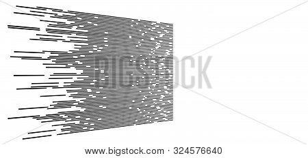 Random 3D Dashed Lines In Perspective. Segmented Stripes Geometric Pattern. Vanish, Diminish Streaks