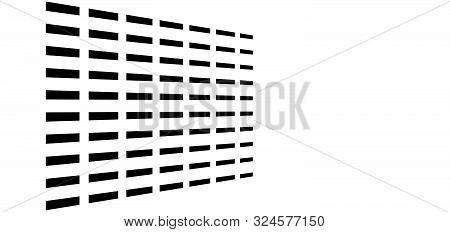 3D Segmented, Dashed Lines Geometric Pattern. Vanish, Diminish Strips In Perspective. Irregular Stri