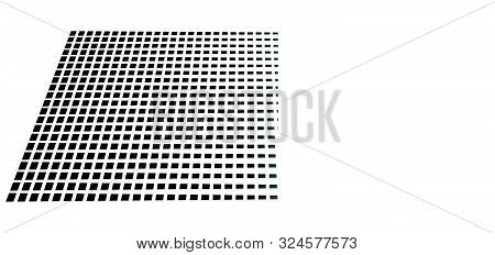 3D Segmented, Dashed Lines Geometric Pattern. Vanish, Diminish Lines In Perspective. Irregular Fadin