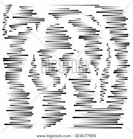 Dashed Irregular Lines. Segment Horizontal Stripes / Lines. Straight Parallel Streaks, Strips, Lines