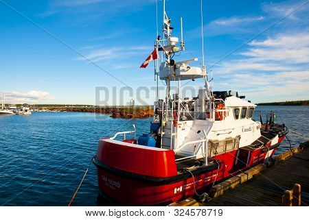 Louisbourg, Canada - August 9, 2016: Fisheries & Oceans Canada Government Coast Guard Patrol Boat