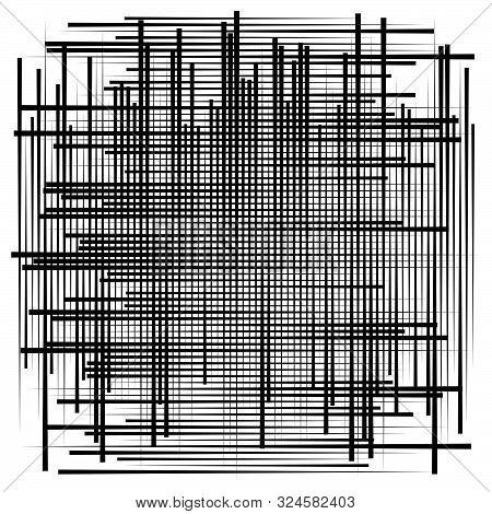 Random lines grid, mesh. Dynamic, irregular overlap, intersect lines, stripes. Jumble, reticulate geometric element. random lines grate, lattice poster