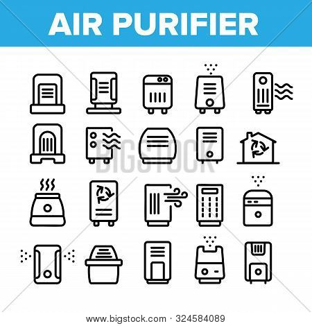 Air Purifier Devices Collection Icons Set Vector Thin Line. Electronic Appliance Air Purifier And Io