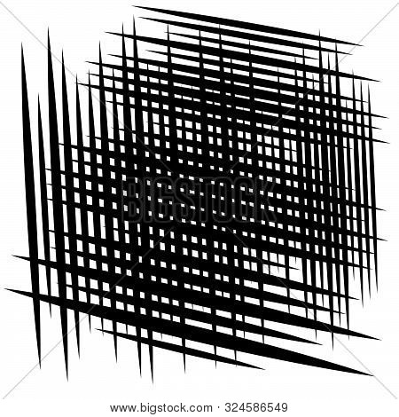Random Tilt, Oblique Grid, Mesh Pattern. Dynamic Slanting Intersect Lines. Abstract Grate Design. Tr