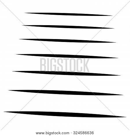 Line Halftone, Lines Pattern. Horizontal Parallel Straight Stripes. Streaks, Strips, Bands Design. L