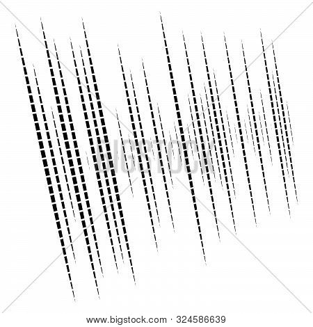 Dynamic Lines Pattern. Stripes Half-tone Element. Dashed, Segments Vertical Straight Streaks, Strips