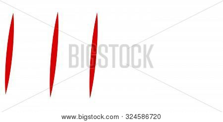 Red Claw Mark. Vertical Scratches. Slit, Incision Dynamic Lines. Tear Mark. Vertical Strips, Streaks