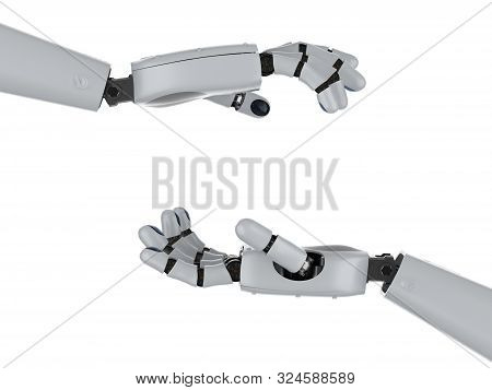 3d Rendering Robotic Hand Or Cyborg Hand Hold Empty Box Isolated On White