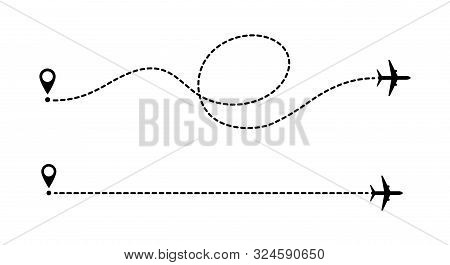 Aircraft Route Dotted Lines Isolated On White Background. Tourism And Travel. Tourist Route By Plane