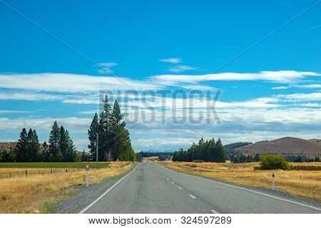 Asphalt Road Through Canterbury Region Of New Zealand