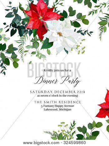 Red Poinsettia Flowers, Christmas Greenery, Emerald Eucalyptus, Seasonal Plants Vector Design Frame.