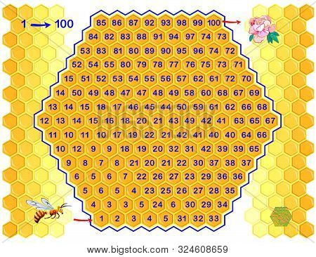 Logical Puzzle Game With Labyrinth For Children And Adults. Find Way From Number 1 Till 100. Printab