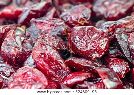 Heap Of Delicious Dried Cranberries Closed-up. For Background And Texture.