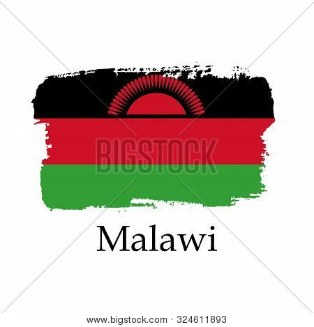Isolated Hand Draw Malawi Flag With Sun. Vector Illustration. National Malawi Banner For Design On W