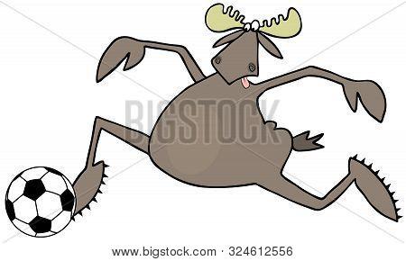 Illustration Of A Bull Moose Running Alongside A Soccer Ball.
