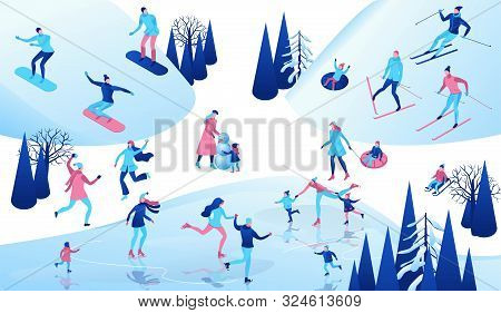 Winter Isometric People Set, 3d Vector Sport Family Ice Skating, Skiing, Snowboarding, Playing Snowb
