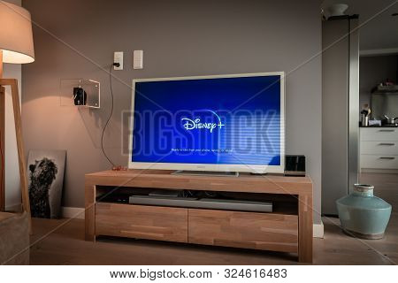 Amsterdam, The Netherlands, 09/28/2019, Disney+ Startscreen On Tv. Disney+ Online Video, Content Str