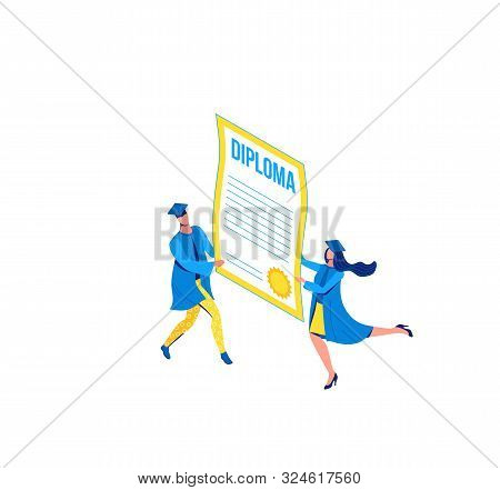 Graduation Isometric Illustration, 3d Graduates Holding Diploma, Cartoon Characters Isolated With Ce