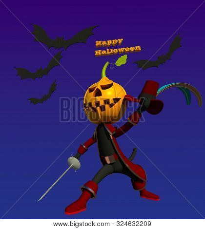 Halloween puss in boots 3D illustration 1. Black cat character disguised with pumpkin lantern on its head, holding sword and hat. Dark night background. Collection. poster