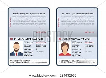 Open International Passports. Id Blank Male And Female Document Photo Page. Vector Travel And Immigr