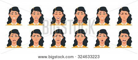 Face Expression. Cartoon Girl Character With Sad Happy Angry Surprised Emotion. Vector Illustration