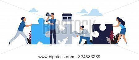 poster of Business puzzle concept. Cartoon businessman partnership and collaboration, teamwork and success metaphor. Vector illustration design work team like symbols develop partnership