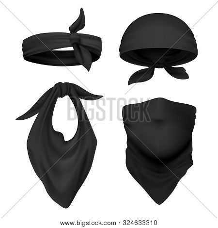 Realistic Black Bandana. Face Buff And Handkerchief Isolated On White, Face Scarf And Face Bandage T