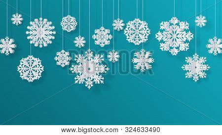 Paper Cut Snowflakes. Christmas Isolated Filigree Decoration Elements, Winter Snow Abstract Backgrou