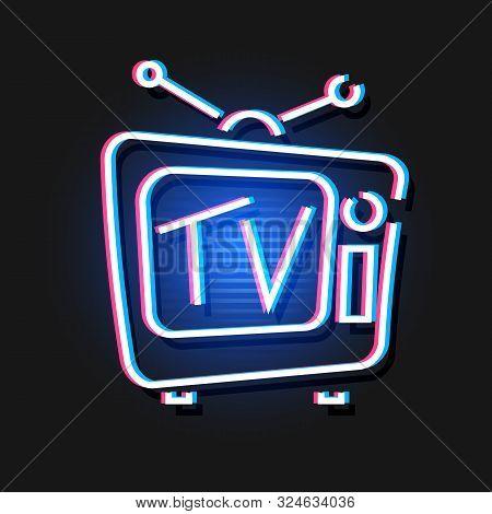 Vintage Hologram Tv. Vector Electronic Background. Illustration.