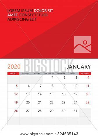 Calendar 2020 Template, Desk Calendar, Wall Calendar 2020, January Month, Poster, Planner Template.