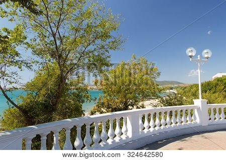 View On White Stone Balustrade From Sea Promenade On Sunny Early Autumn Day In Velvet Season. Decora