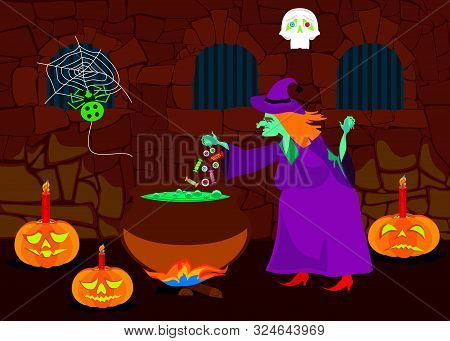 An Old Witch In Dungeon Preparing A Potion. Halloween Theme. Vector Illustration