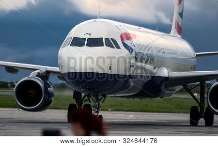 Bucharest, Romania - July 15, 2019: The British Airways G-EUXG Airbus A321 (MSN 2351) aircraft is parked in the VIP reception area of ​​Henri Coanda Airport in Otopeni, 20 km. north of Bucharest.