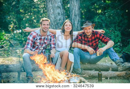 Friends Camping In Forest. Company Having Hike Picnic Nature Background. Friends Enjoy Weekend Barbe