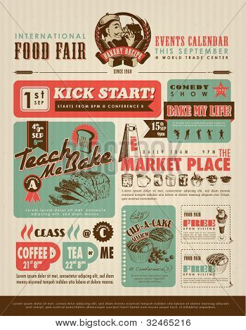Retro Food Advertisement Layout Design Template