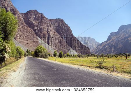 Pamir Highway Or Pamirskij Trakt. Landscape Around Pamir Highway M41 International Road, Pamir Mount
