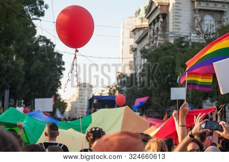 Belgrade, Serbia - September 15, 2019:  Crowd Of Protestors Holding Rainbow Gay Flags And Balloons D