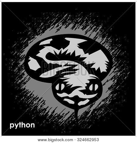 Black Python On Comic Background. Black Python Monogram
