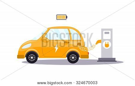 An Electric Car Charges From An Electric Vehicle Charging Station. Concept Of Preserving The Green E