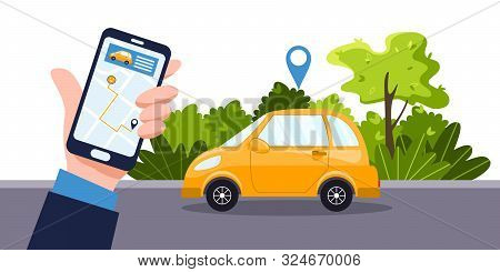 Car Sharing Service Concept. Telephone With Online App, Businessman And Yellow Car. Green Environmen