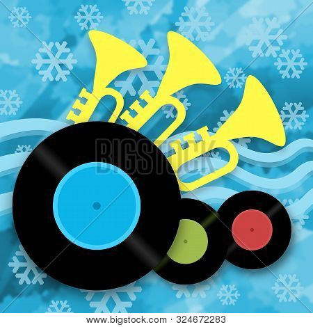 Music Winter Background With Vinyl Records, Trumpets And Snowflakes