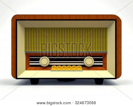 Old Vintage Tube Radio Receiver Made Of Wood And Cream Plastic On A White Background. Old Mid-20th C