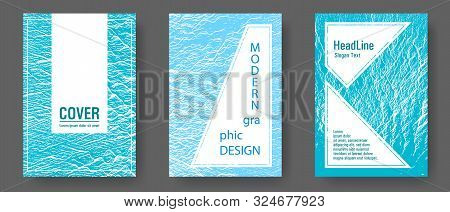 Booklet Design Vector Layouts Set. Blue Sea Water Waves Texture Backdrops. Buzzing Rippling Motion B