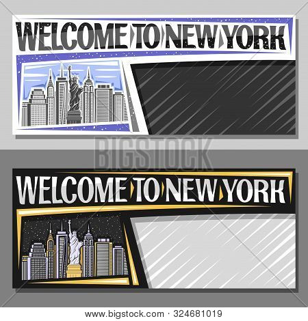 Vector Layouts For New York City With Copy Space, Decorative Sign Board With Statue Of Liberty On Ba