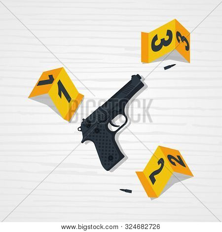 Csi Investigation. Crime Scene. Collecting Evidence. Vector Illustration Flat Design. Isolated On Wo